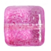 Glass Bead Squares 8mm Two-Tone Sugar Fuchsia - Strung